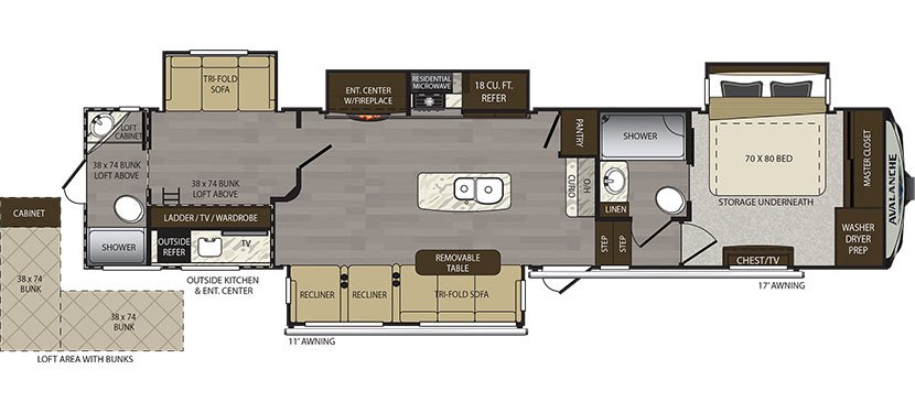 New AVALANCHE 395BH FIFTH WHEEL